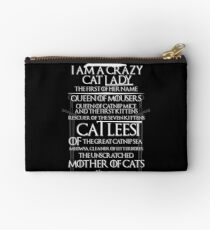 Catleesi- Mother of Cats- White on Black version Studio Pouch