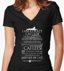 Catleesi- Mother of Cats- White on Black version Women's Fitted V-Neck T-Shirt