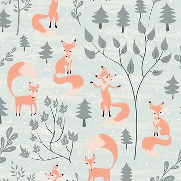Seamless pattern with fox in winter forest by Lidiebug