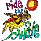 Ride the Wave: Whimsical Sea Turtle Watercolor Illustration by mellierosetest