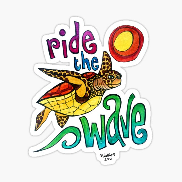 Ride the Wave: Whimsical Sea Turtle Watercolor Illustration Sticker