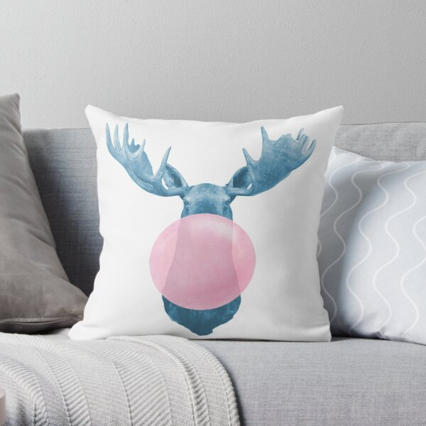 moose bubble Throw Pillow