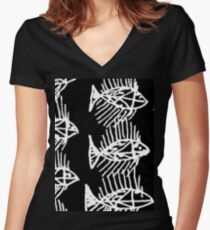 Black and White Abstract Fish Art Tote Bag Women's Fitted V-Neck T-Shirt