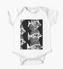 Black and White Abstract Fish Art Tote Bag One Piece - Short Sleeve