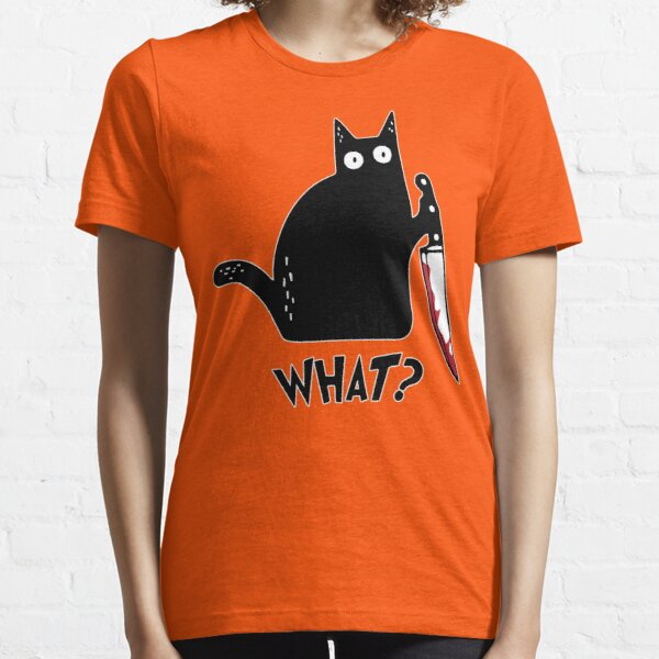 Black Cat With Knife - Cat What? Essential T-Shirt