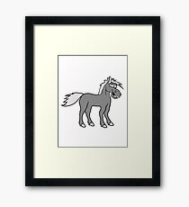 funny silly crazy comic cartoon horse laugh silly stallion donkey Framed Print