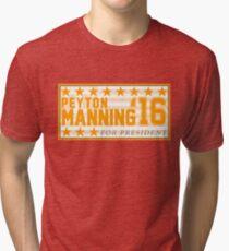 Peyton Manning para el presidente Campaign Sticker Camiseta de tejido mixto