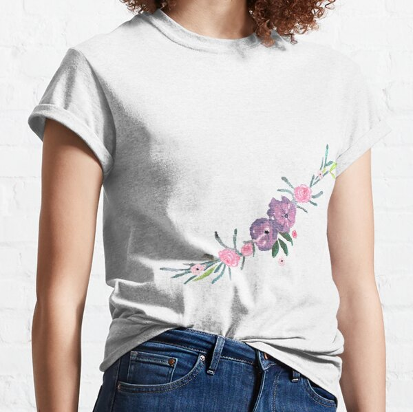 Purple and Pink Watercolour Floral Arrangement Pattern Classic T-Shirt