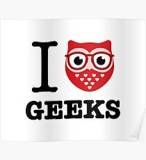 I Owl Geeks (love heart) Poster