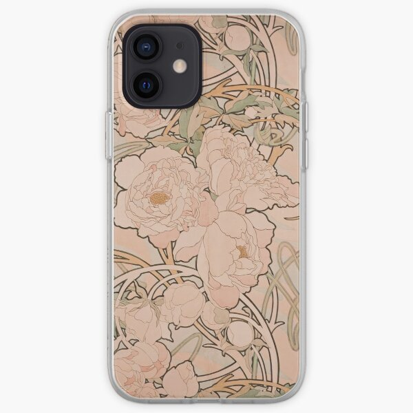 Mucha Peonies Apricot iPhone Soft Case