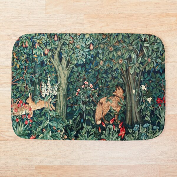 GREENERY, FOREST ANIMALS Fox and Hares Blue Green Floral Tapestry Bath Mat
