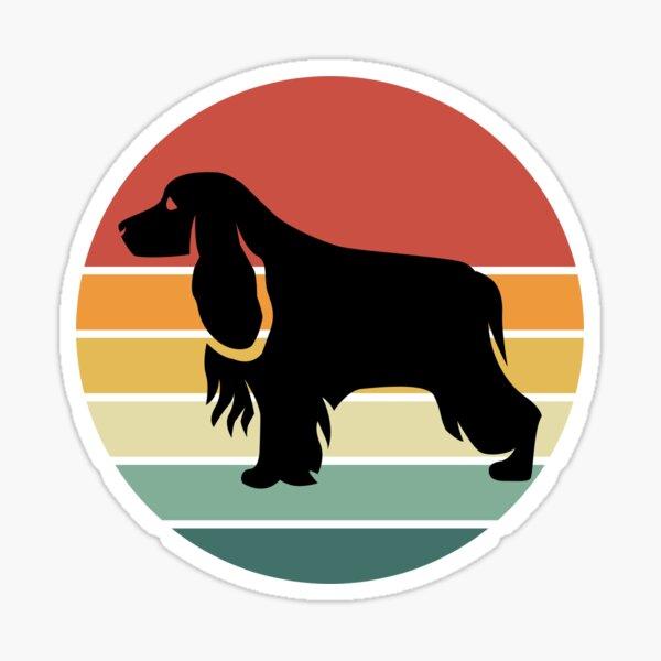 Cocker Spaniel Dog Retro Vintage Silhouette Sunset Distressed Sticker