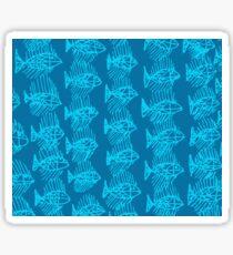 Blue Tropical Fish Abstract Art Throw Pillow Sticker