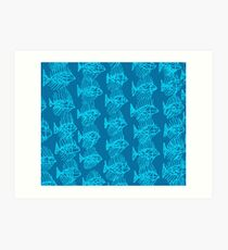 Blue Tropical Fish Abstract Art Throw Pillow Art Print