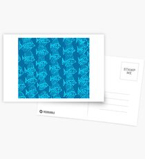 Blue Tropical Fish Abstract Art Throw Pillow Postcards