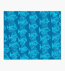 Blue Tropical Fish Abstract Art Throw Pillow Photographic Print