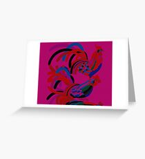 Abstract Rooster Art Throw Pillow in Hot Pink Greeting Card