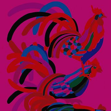 Abstract Rooster Art Throw Pillow in Hot Pink by ntartworks