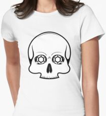 Defy Danger Skull - White Women's Fitted T-Shirt