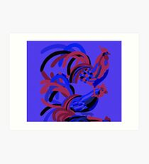 Rooster Abstract Art Blue iPad Cover Art Print