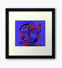Rooster Abstract Art Blue iPad Cover Framed Print