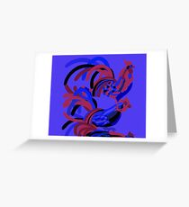 Rooster Abstract Art Blue iPad Cover Greeting Card