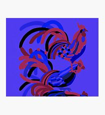 Rooster Abstract Art Blue iPad Cover Photographic Print