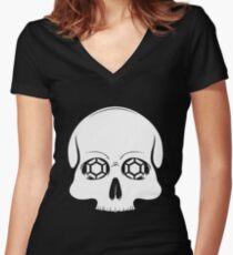 Defy Danger Skull - Black Women's Fitted V-Neck T-Shirt