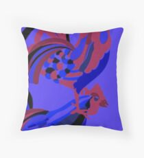 Rooster Abstract Art Blue iPad Cover Throw Pillow