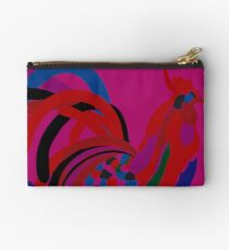 Abstract Rooster Art Throw Pillow in Hot Pink Studio Pouch