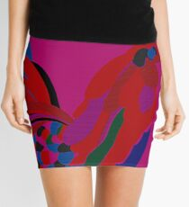 Abstract Rooster Art Throw Pillow in Hot Pink Mini Skirt