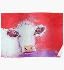 White Cow painting on red background Poster