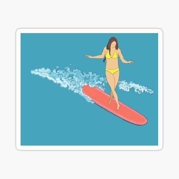 Surfer Girl Longboarder Sticker