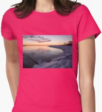 Snowy Pink Dawn on the Lake Womens Fitted T-Shirt