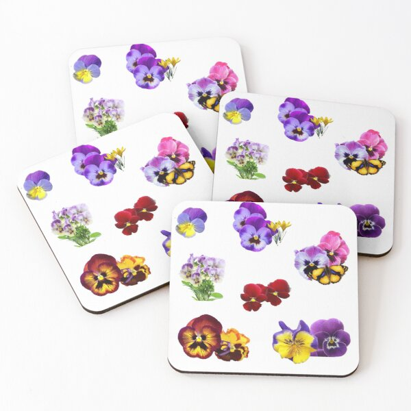 Colorful Pansies Garden Collage with Butterfly Coasters (Set of 4)