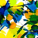 abstract with leaves in yellow by kasiunia