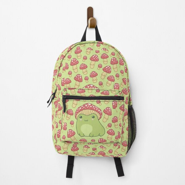 Frog with Mushroom Hat and Snail - Cottagecore Aesthetic Forg Backpack