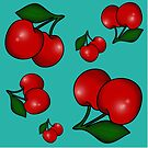 Retro Cherry Pattern on Teal by Tee Brain Creative