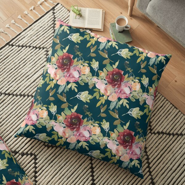 Navy Blue Blossoming Floral Pattern Floor Pillow
