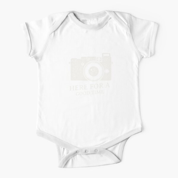ON CAMERA FLASH, HERE FOR A GOOD TIME. Short Sleeve Baby One-Piece