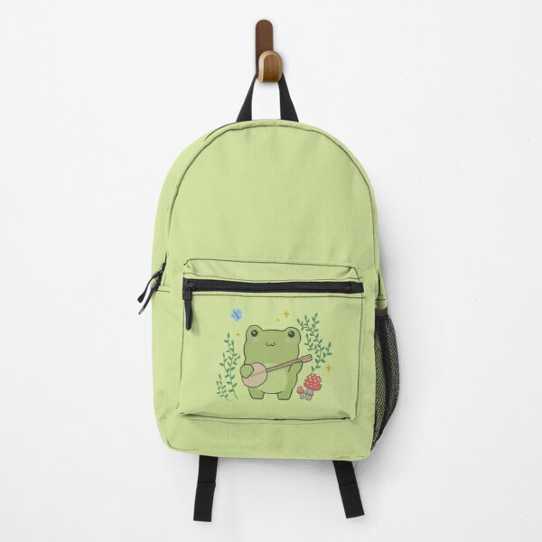 Kawaii Cute Frog Banjo Butterfly - Cottagecore Aesthetic Frog Backpack