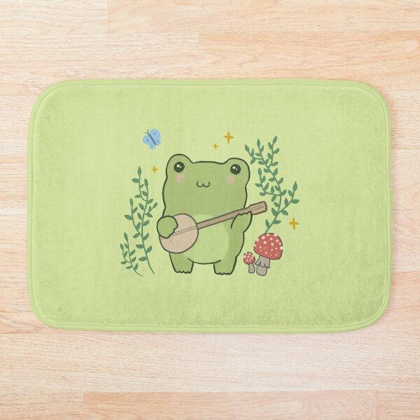 Kawaii Cute Frog Banjo Butterfly - Cottagecore Aesthetic Frog Bath Mat