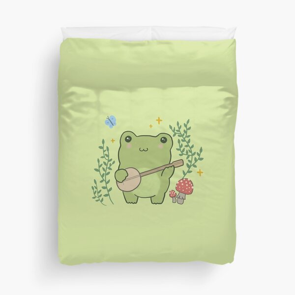 Kawaii Cute Frog Banjo Butterfly - Cottagecore Aesthetic Frog Duvet Cover