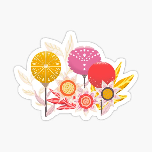 Sunny flowers and Stylised flowers Sticker