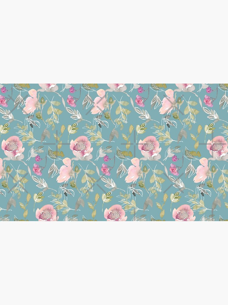 Light Blue Blossoming Floral Pattern by chanzds