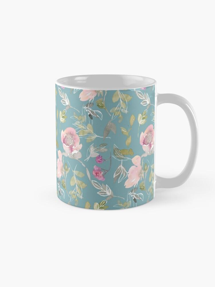 Alternate view of Light Blue Blossoming Floral Pattern Mug