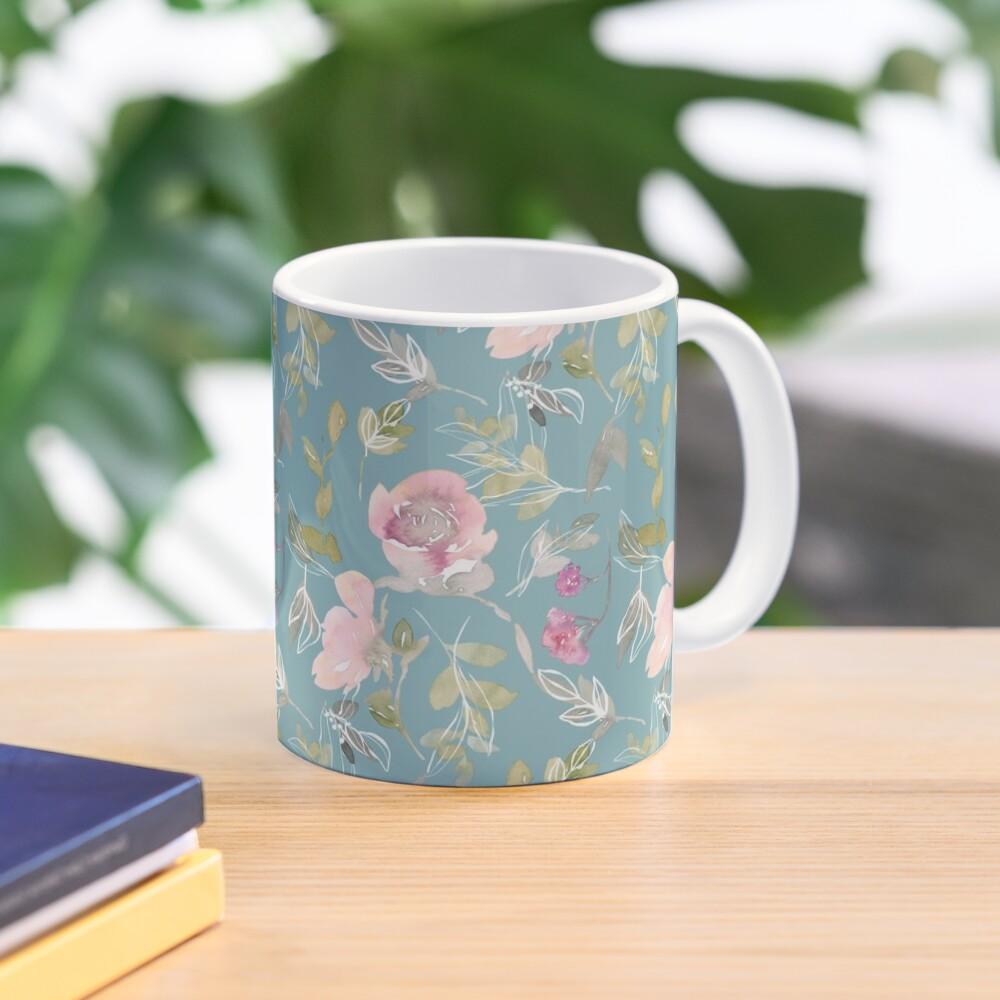 Light Blue Blossoming Floral Pattern Mug