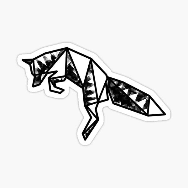 Ihwaz Rune   Abstract Fox Geometric Line Art Sticker