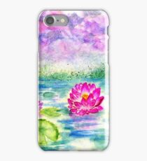 Lotus Pond Watercolor iPhone Case/Skin