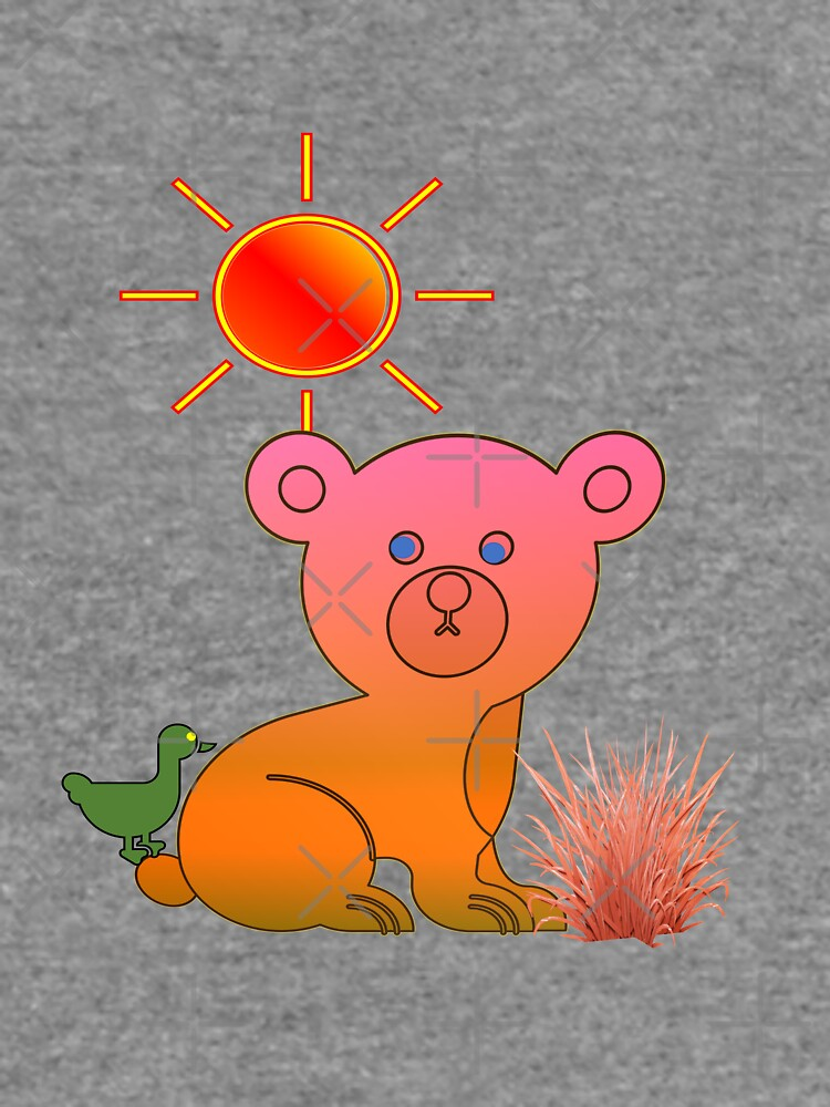 A pink yellow bear caricature with a green bird by Veee8